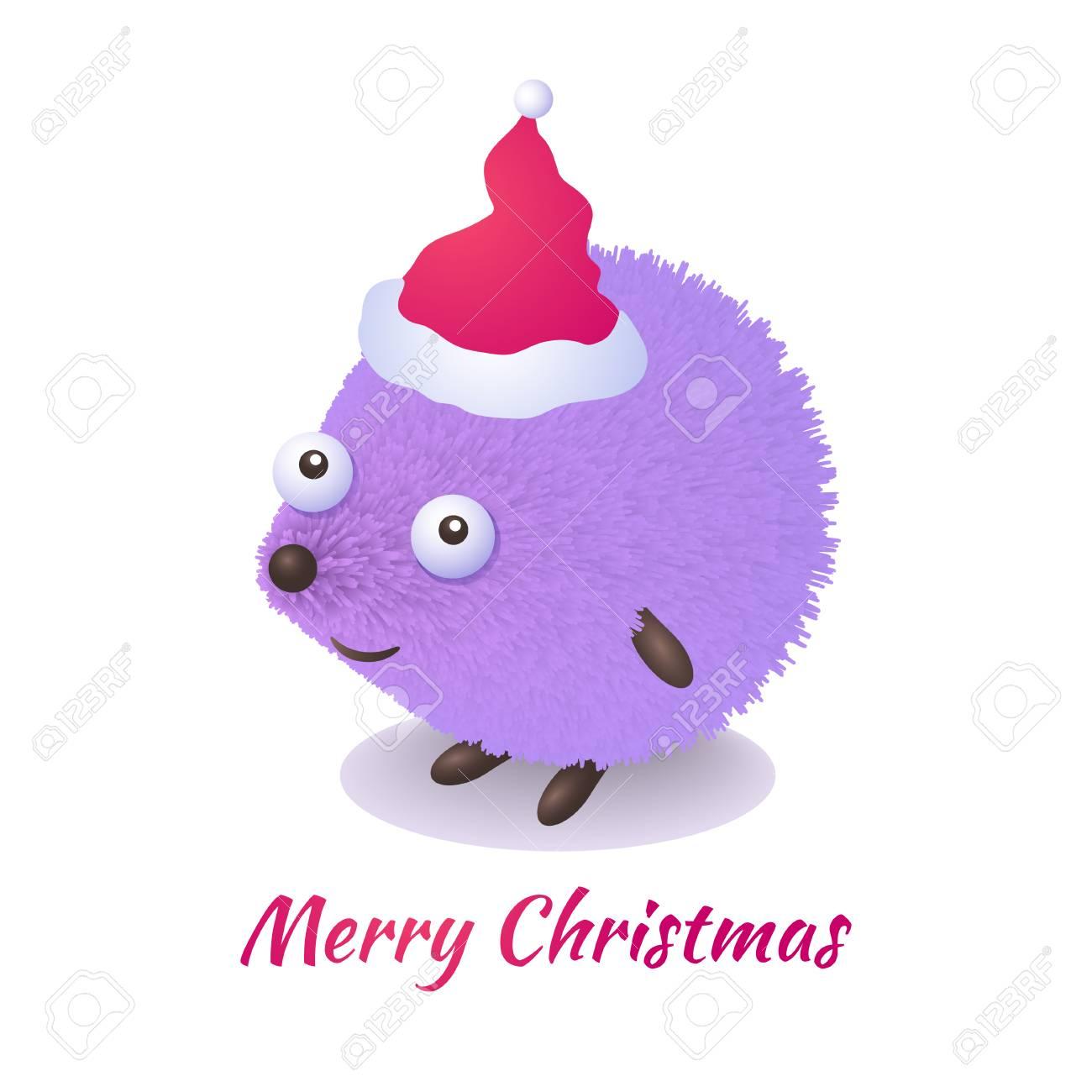 Erizo De Dibujos Animados Lindo Felicita En Navidad. Tarjeta De ...