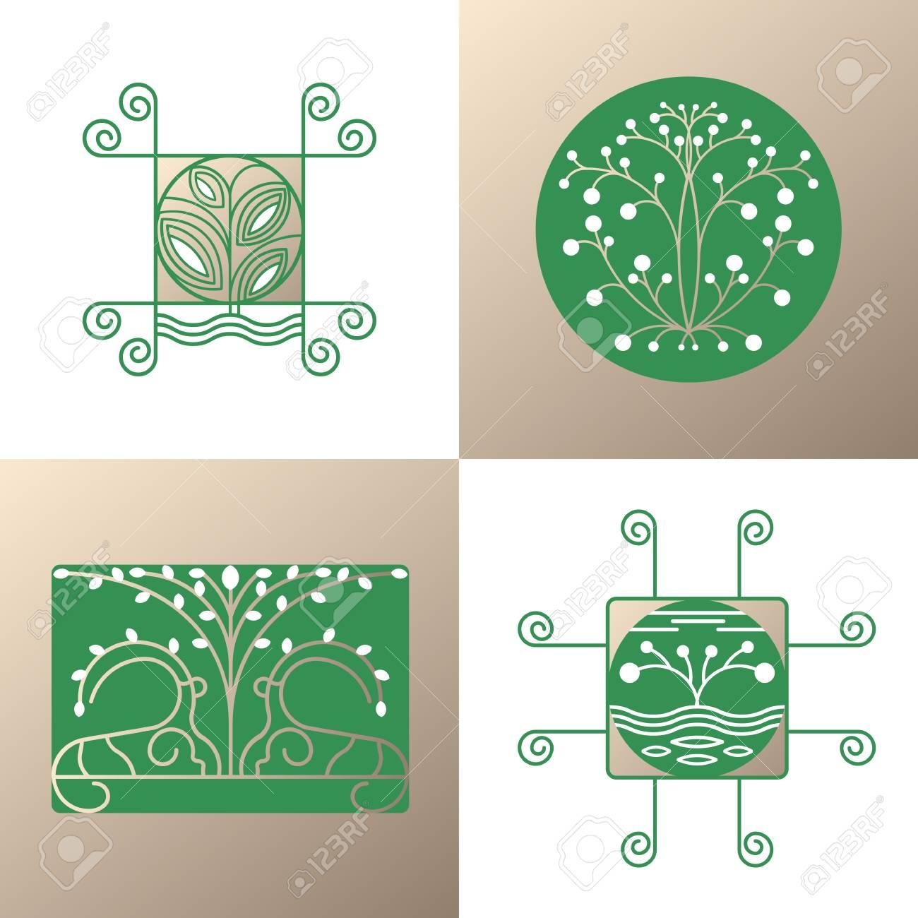 Vector Conjunto De Elementos De Logotipos De La Naturaleza. Iconos ...