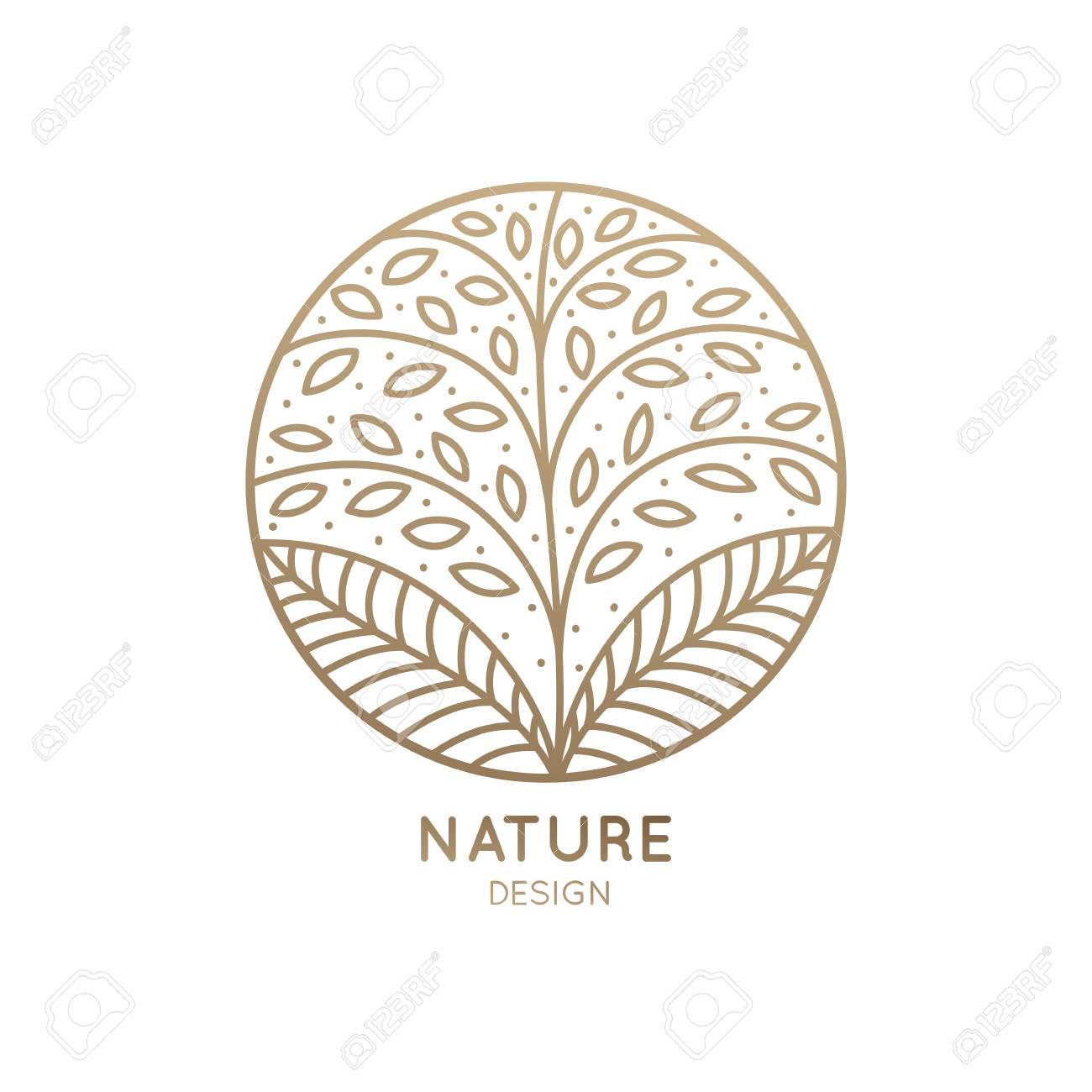 Vector Logo De Elemento Floral. Árbol Abstracto Con Hojas En Círculo.  Emblema Redondo Lineal Para El Diseño De Productos Naturales 4788b874cb19