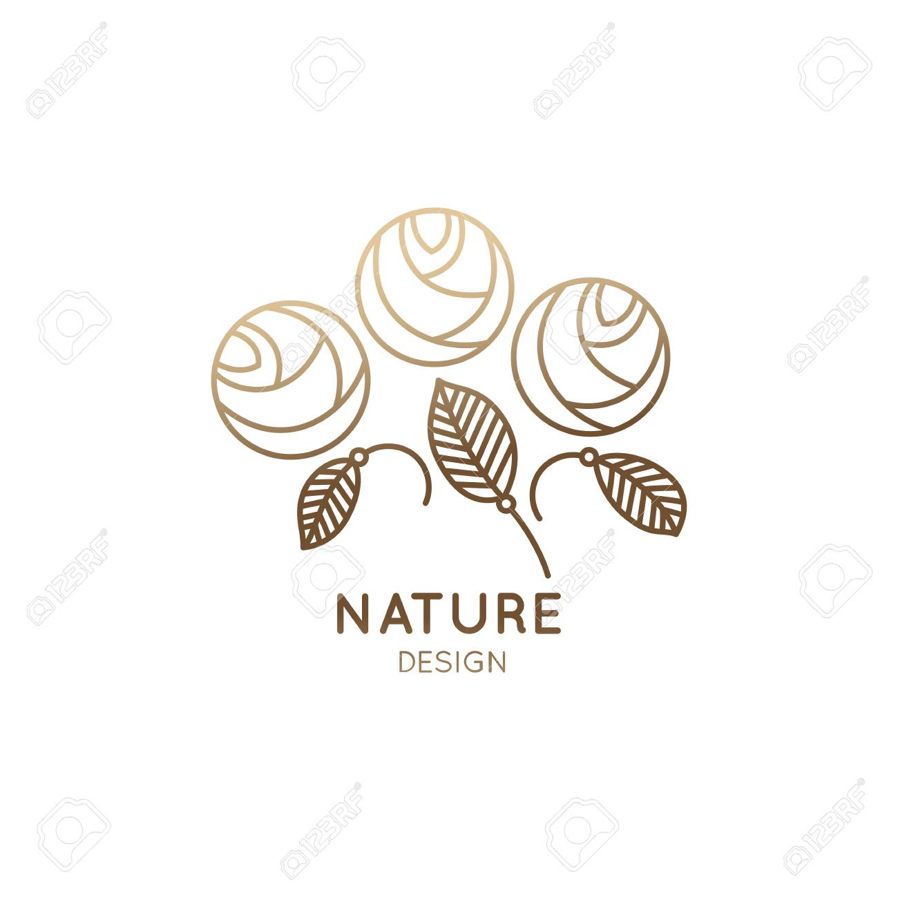 Vector logo of floral element abstract flower buds rose outline abstract flower buds rose outline icon linear emblem for design of business flower shop cosmetics and ecology concepts health spa and beauty saloon izmirmasajfo