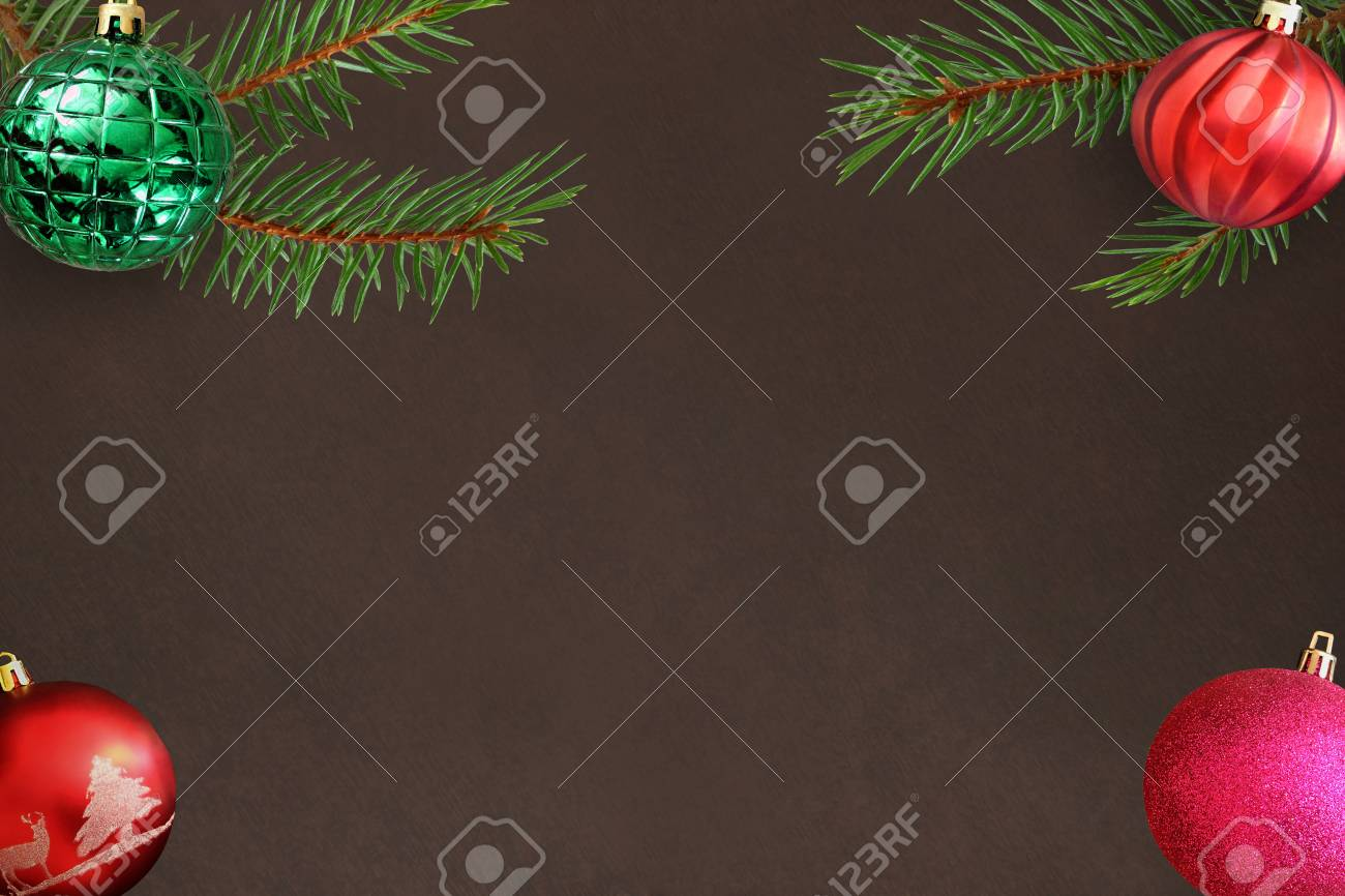 Christmas Tree Branch With Pink Red Wavy And Green Ribbed Ball Stock Photo Picture And Royalty Free Image Image 68636921