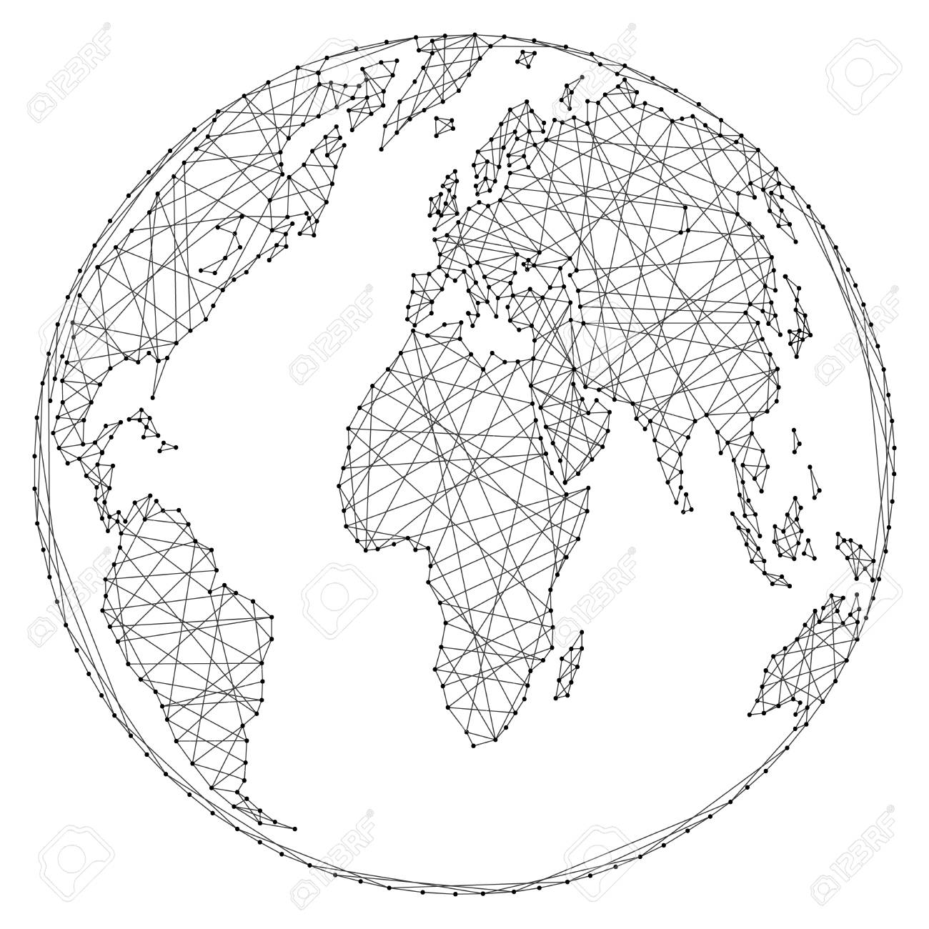 Abstract world map on a globe ball of polygonal lines and dots abstract world map on a globe ball of polygonal lines and dots on a white background gumiabroncs Images