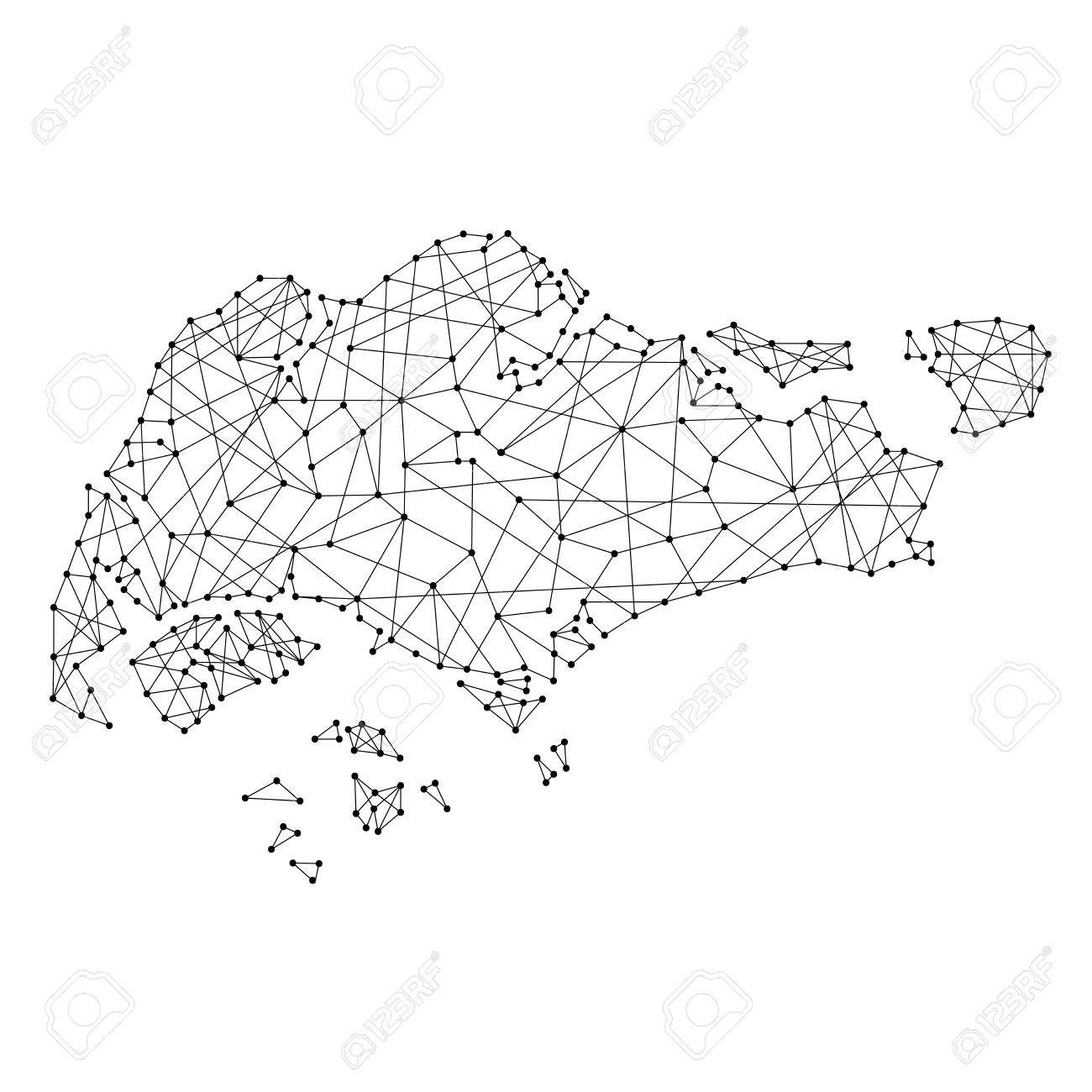 Map Of Singapore From Polygonal Black Lines And Dots Of Vector ...
