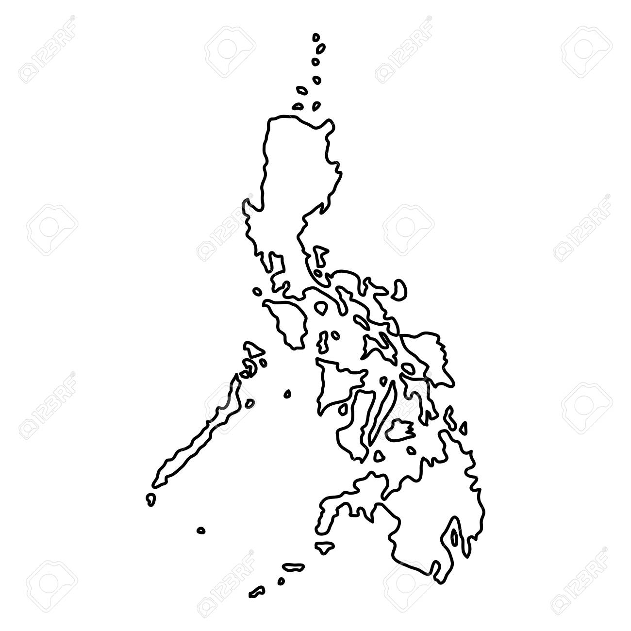 philippines map of black contour curves on white background of