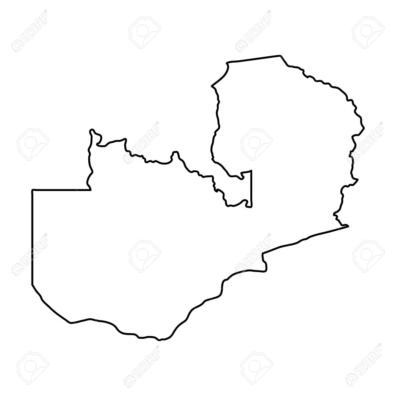 Zambian Map Vector.Zambia Map Of Black Contour Curves On White Background Of Vector