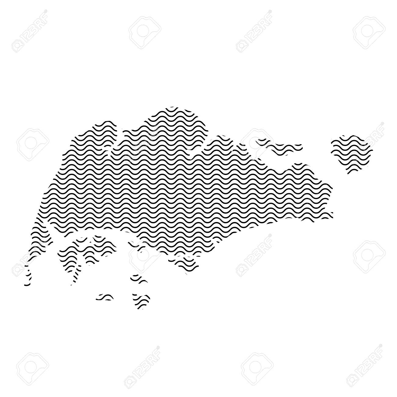 Singapore Map Country Abstract Silhouette Of Wavy Black Repeating ...