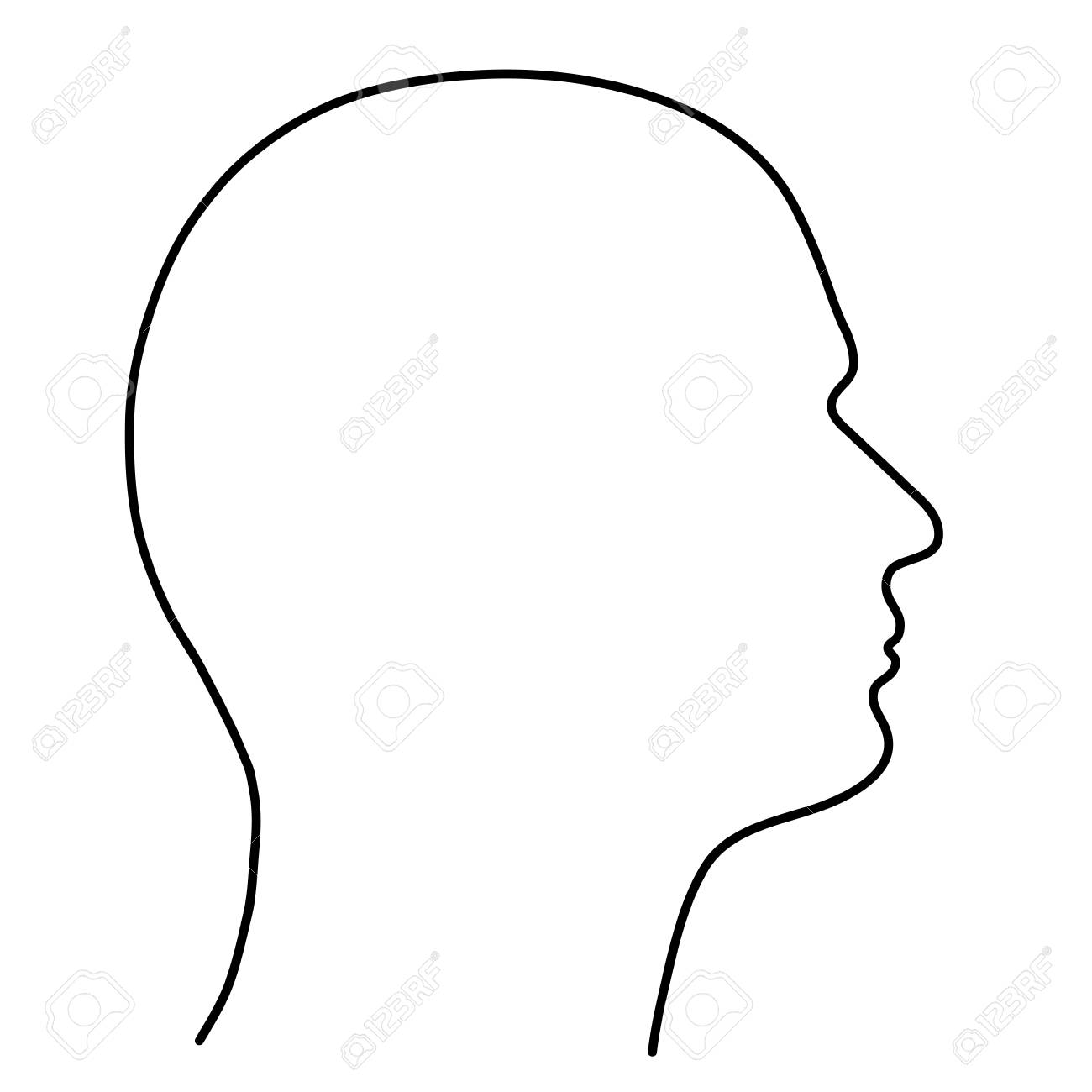 Human head of a man, the outline of black lines on a white background. Vector illustration. - 111995644