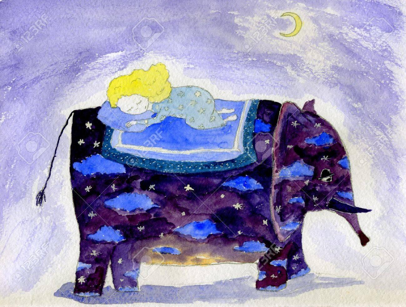 Watercolor illustration of elephant carrying sleepin little girl - 4755358