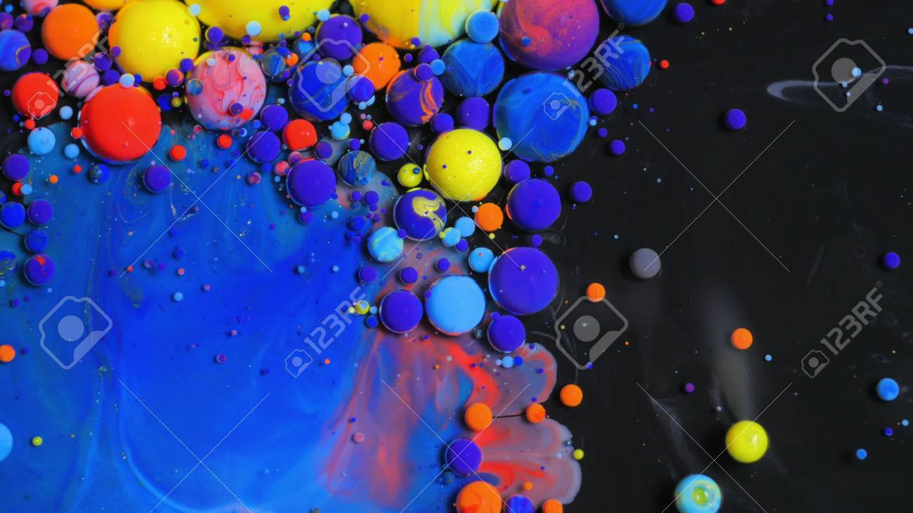 Stream Of Colorful Bubbles Moving On Paint Surface Black Blue Yellow Ink Beautiful 4K Background Wallpaper - 72083568