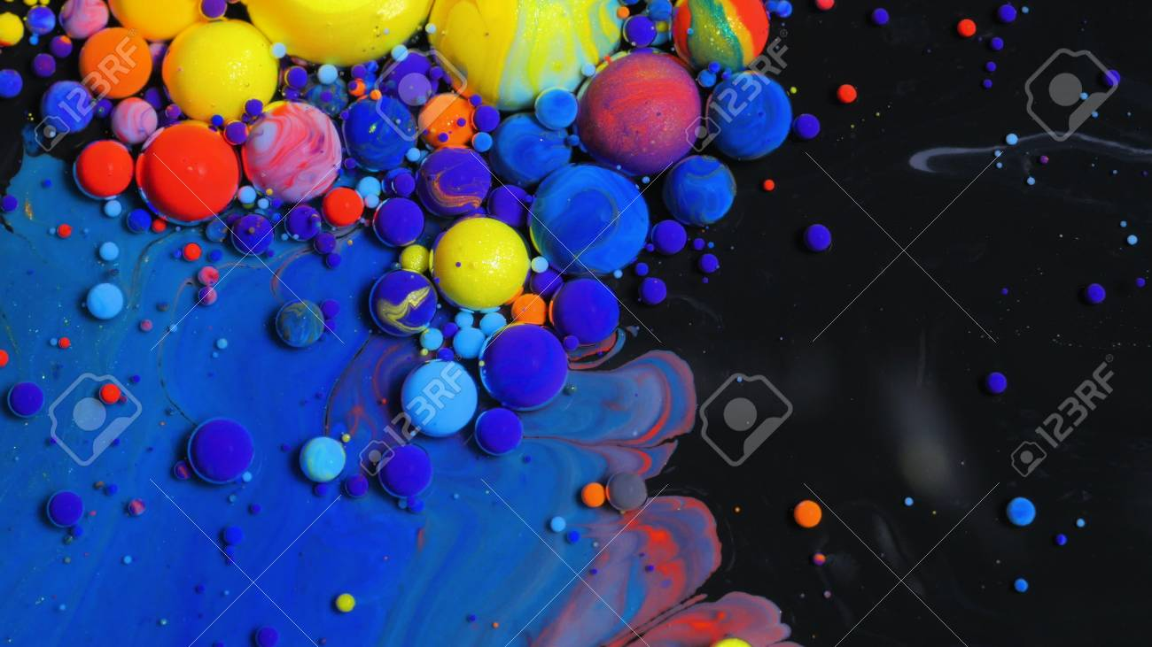 Bright Collors Bubbles Slow Motion Oil Beautiful Paint Surface Red Blue Black And Yellow Universe Of Color Moving Multicolored Macro - 72083570