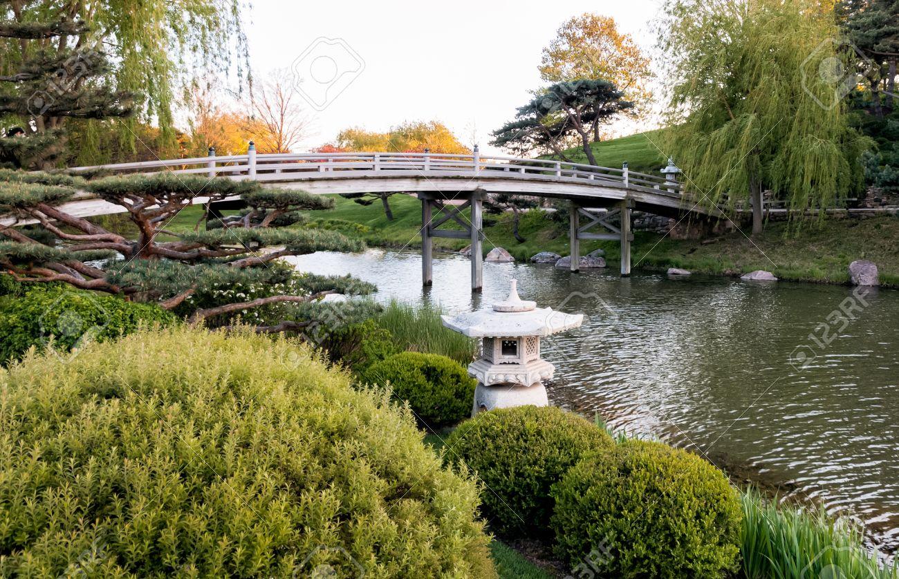 Japanese Style Garden Bridges Chicago Botanic Garden Bridge To Japanese Garden Stock Photo