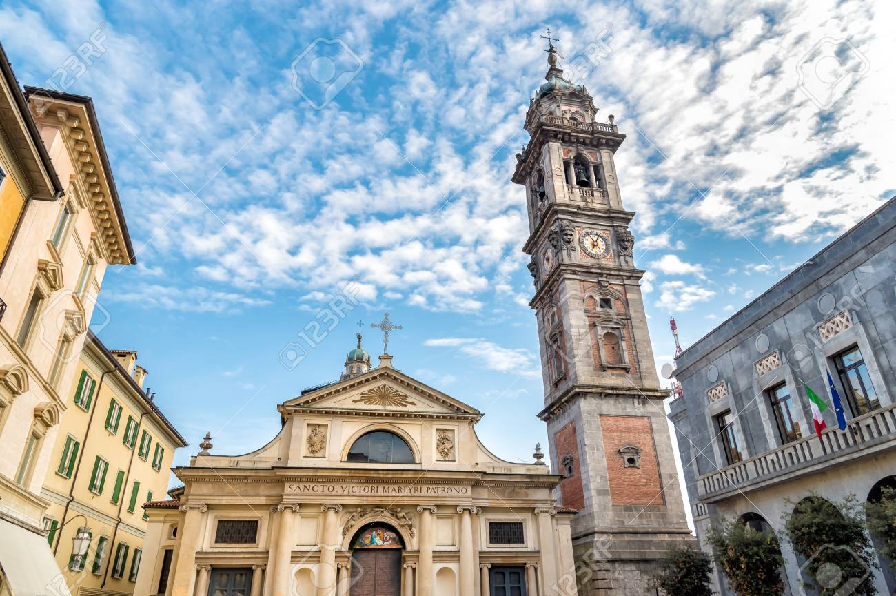 View Of Romanesque Basilica Of St. Victor Church And Bell Tower ...