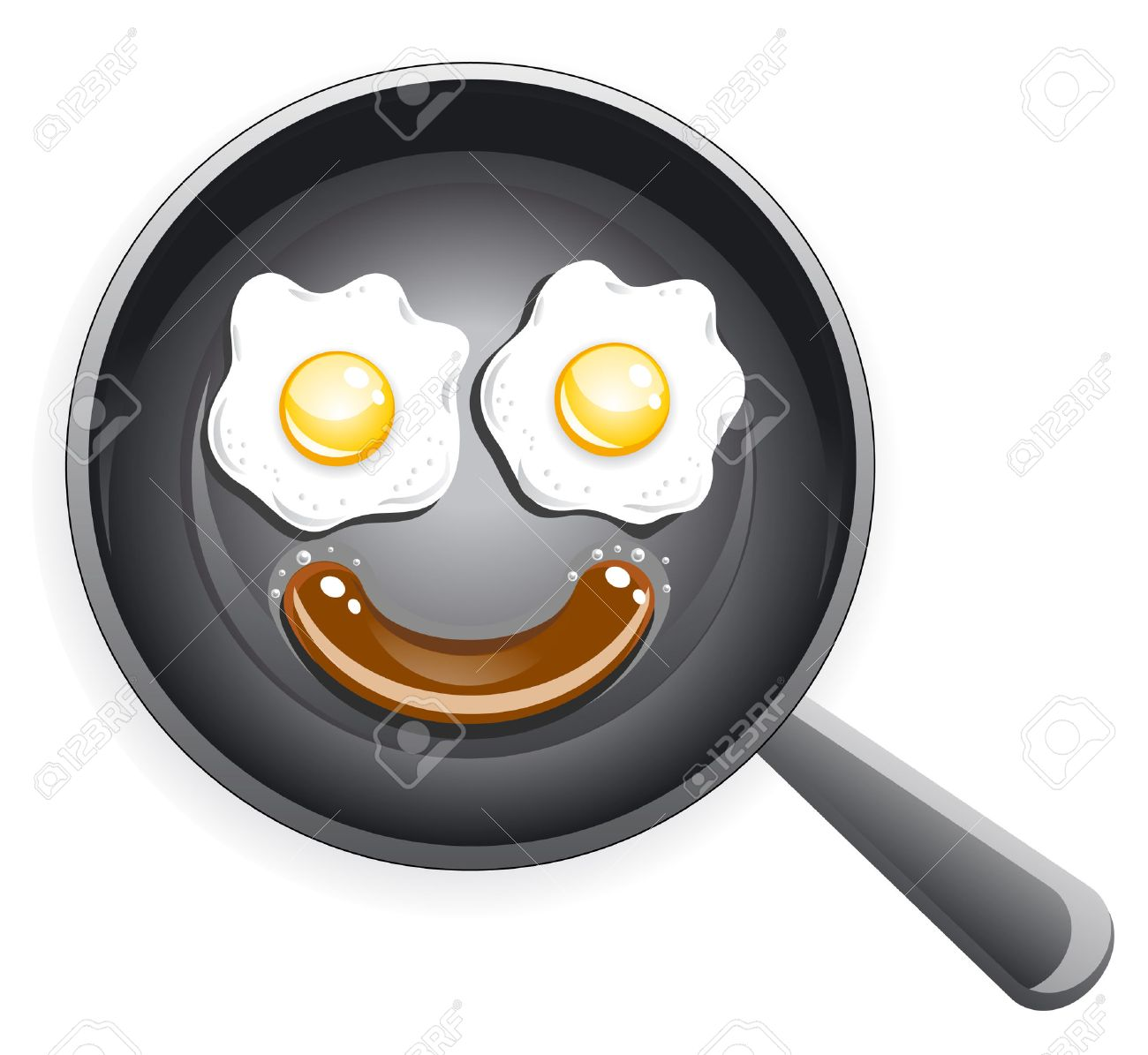Smile! Fried eggs and sausage on frying pan Stock Vector - 7688393