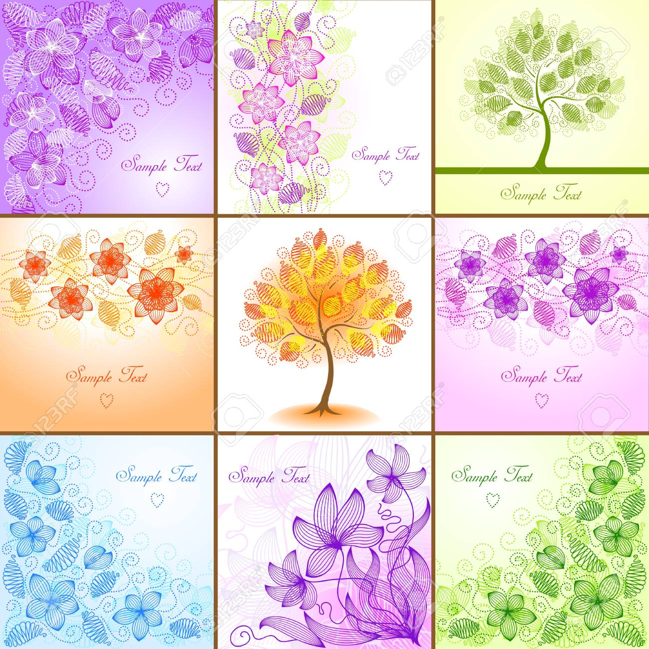 Set Of Vintage Floral Backgrounds Royalty Free Cliparts Vectors