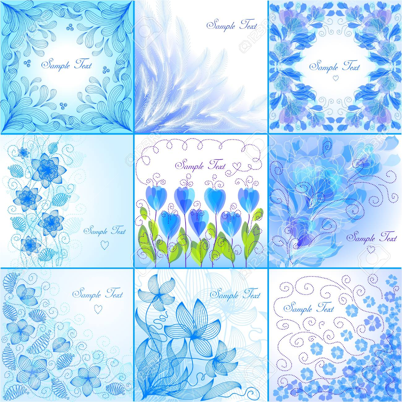 Set Of Blue Floral Backgrounds Royalty Free Cliparts Vectors And
