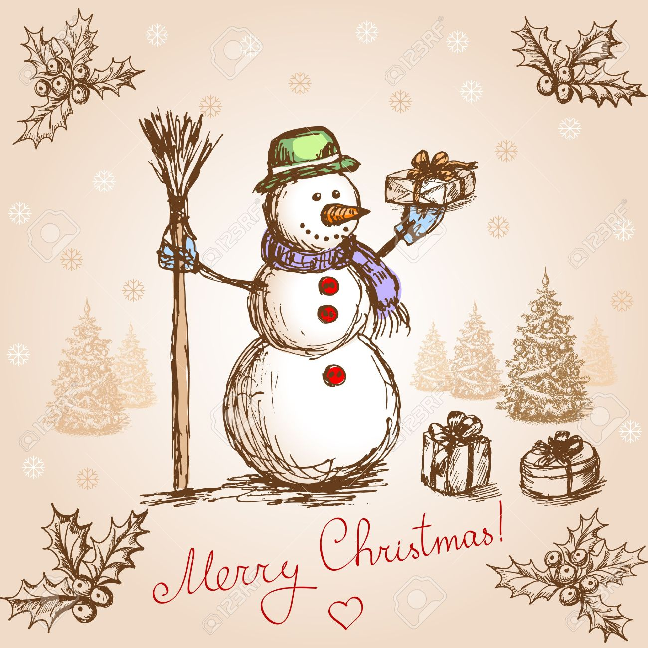 Hand Drawn Christmas Card In Vintage Stile Royalty Free Cliparts ...