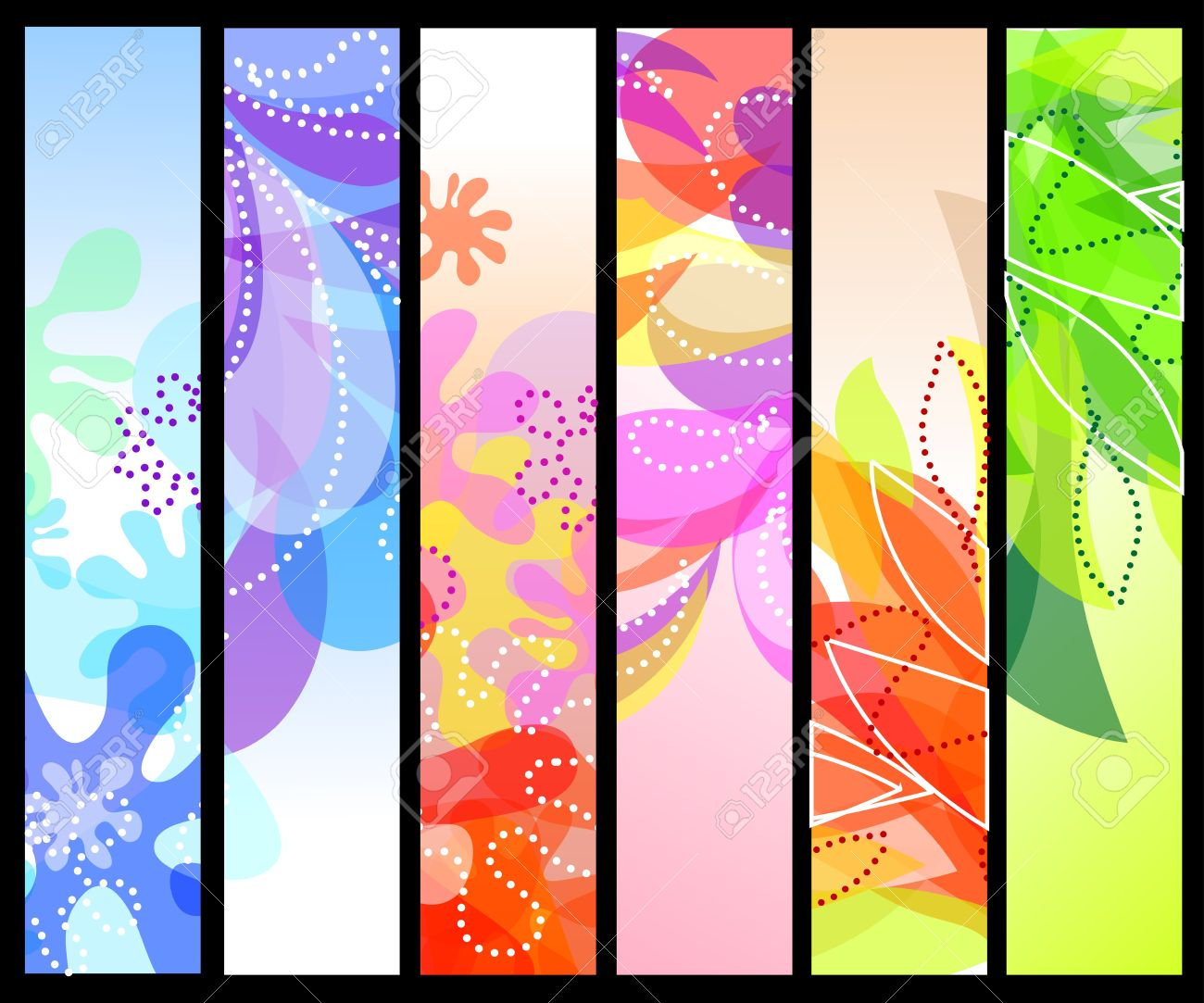 Set of six vertical decorative banners backgrounds Stock Vector - 13354038