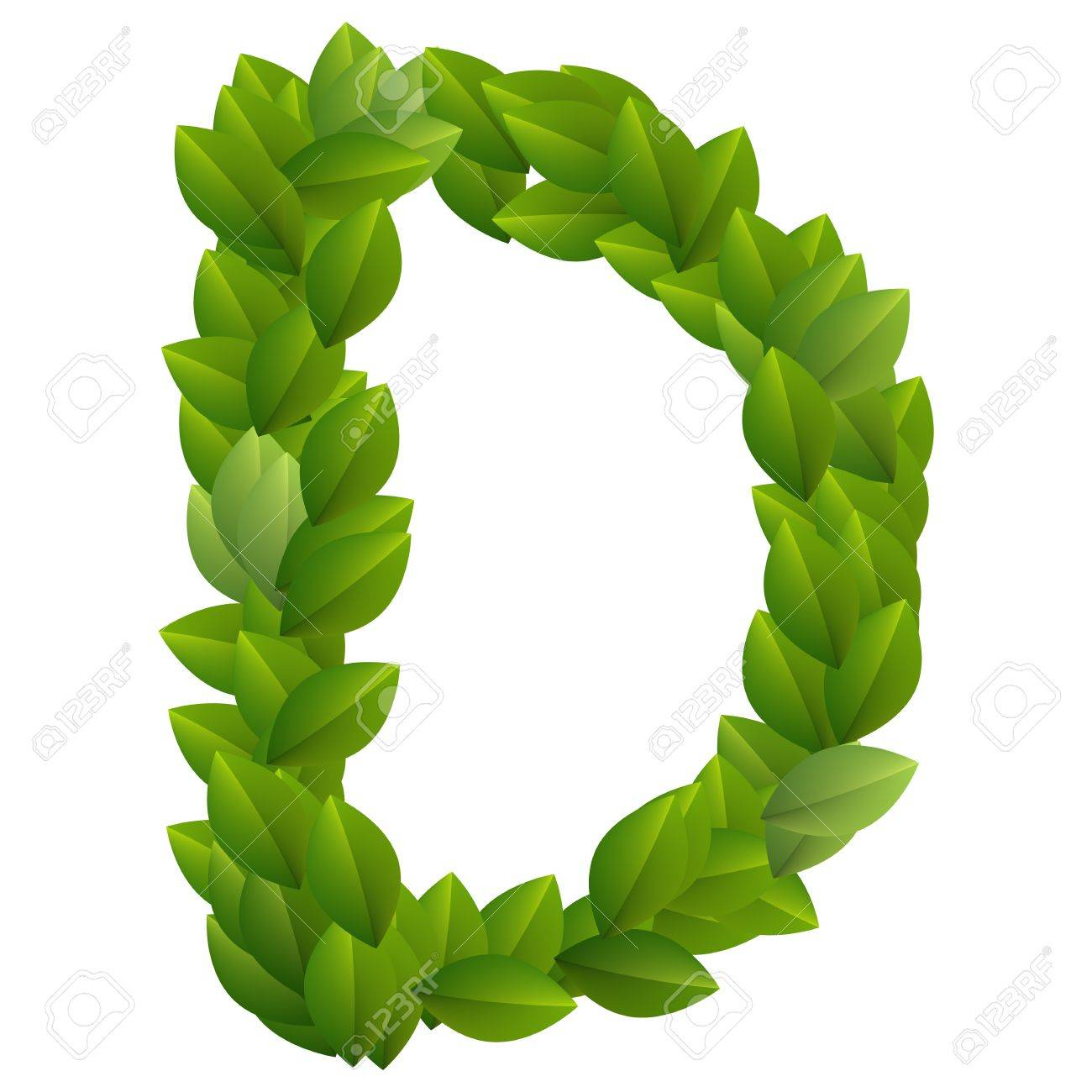 Letter D of green leaves alphabet Stock Vector - 14237279