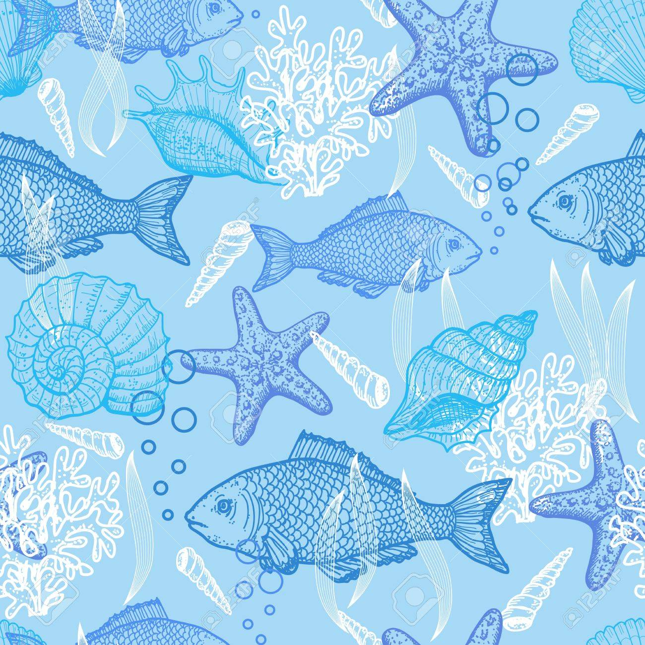 Sea hand drawn seamless pattern Stock Vector - 14328735