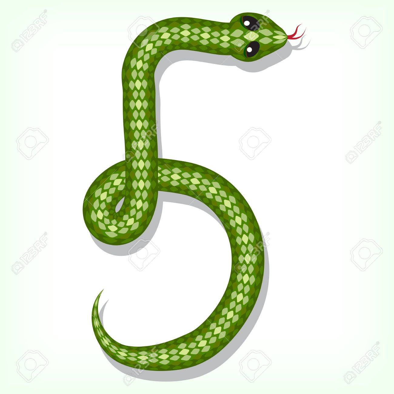 Snake Font Digit 5 Royalty Free Cliparts Vectors And Stock Illustration Image 14680927