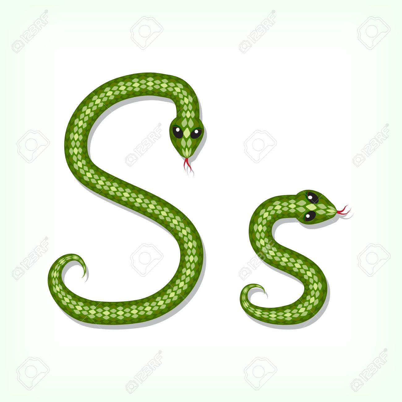 Font Made From Green Snake. Letter S Royalty Free Cliparts