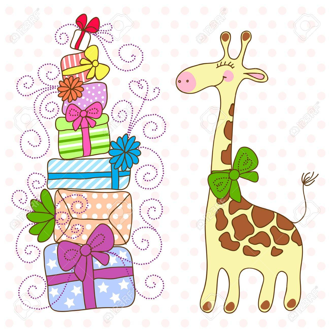 Cute Giraffe with a lot of gifts Stock Vector - 14935865