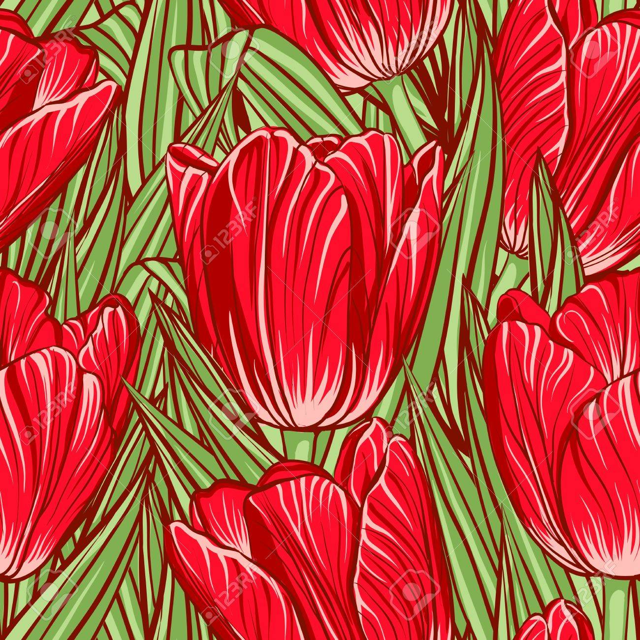 Decorative floral seamless pattern with flowers of tulips Stock Vector - 21526875