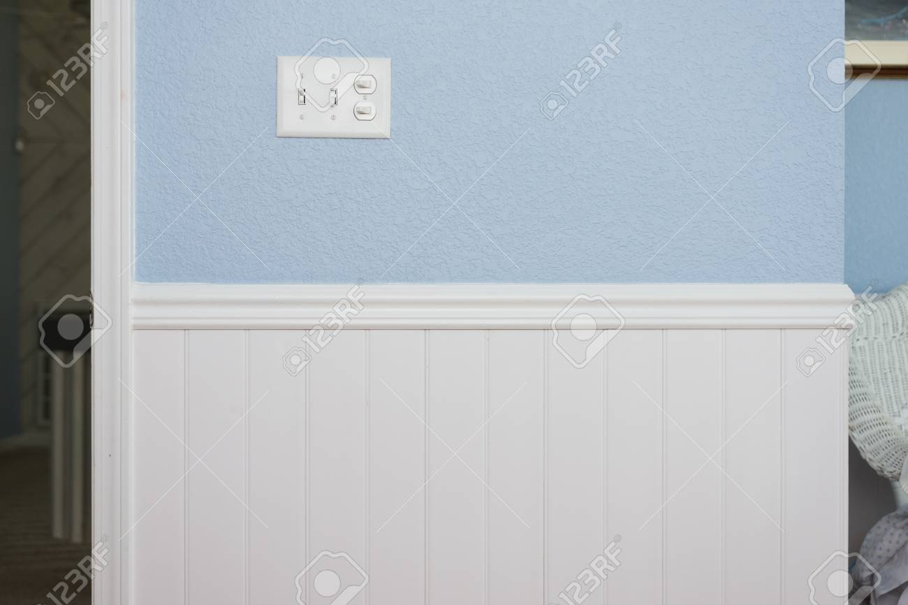 Picture of: Clean White Bead Board Or Wainscot Chair Guard Trim Light Blue Stock Photo Picture And Royalty Free Image Image 104238744
