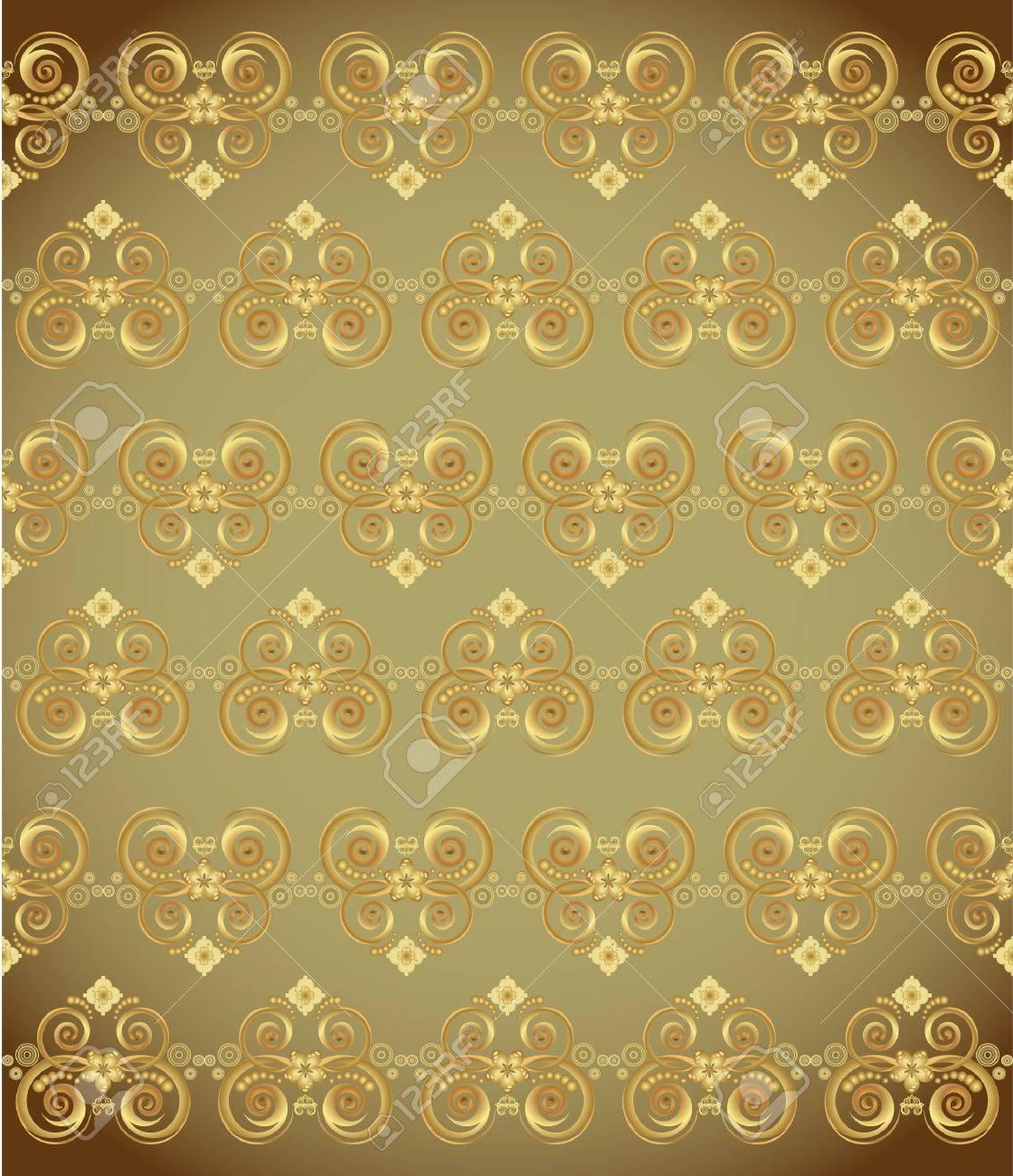 golden wallpaper with a pattern - seamless texture Stock Vector - 10119041