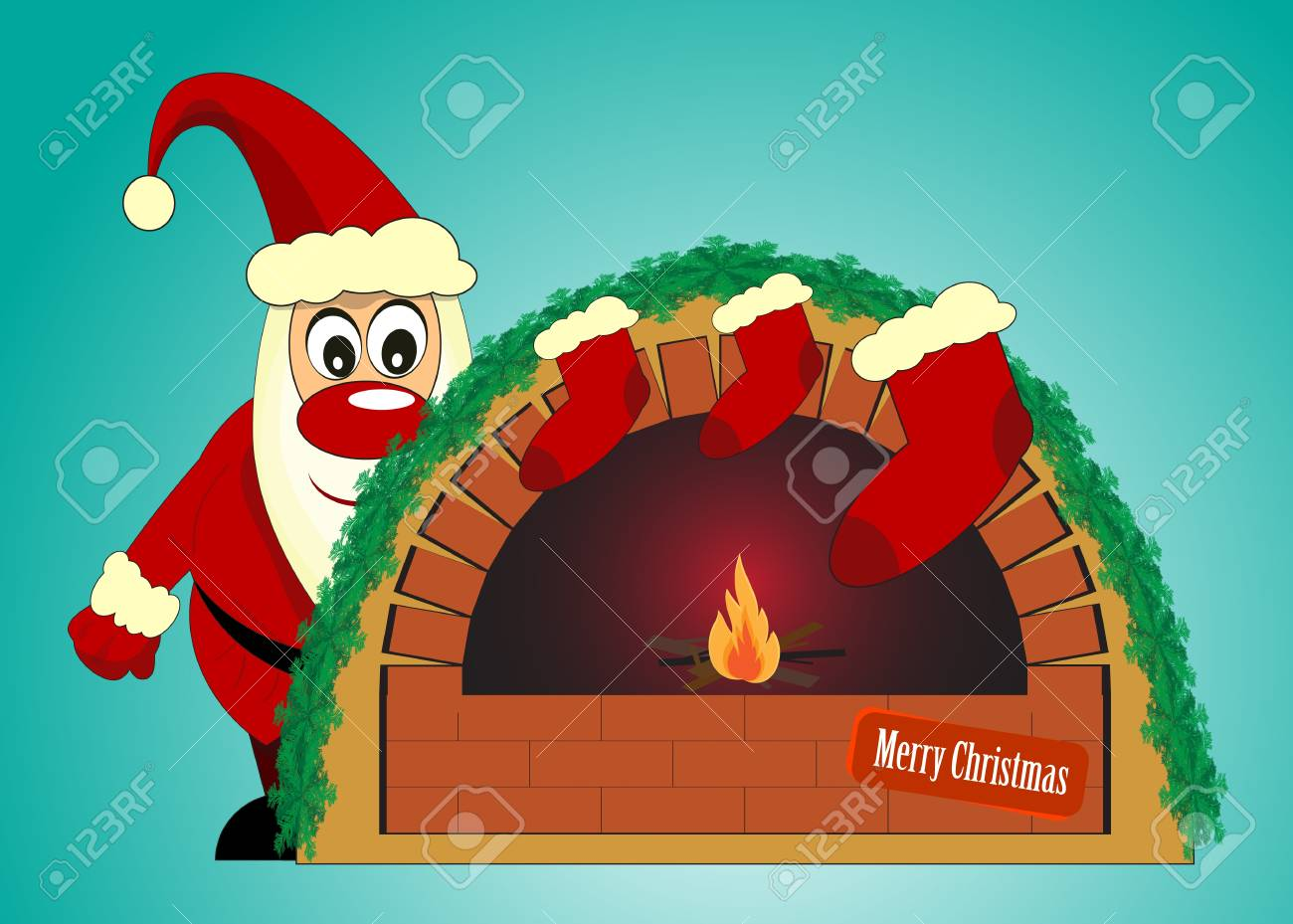 santa claus and fireplace on blue background Stock Vector - 11010258