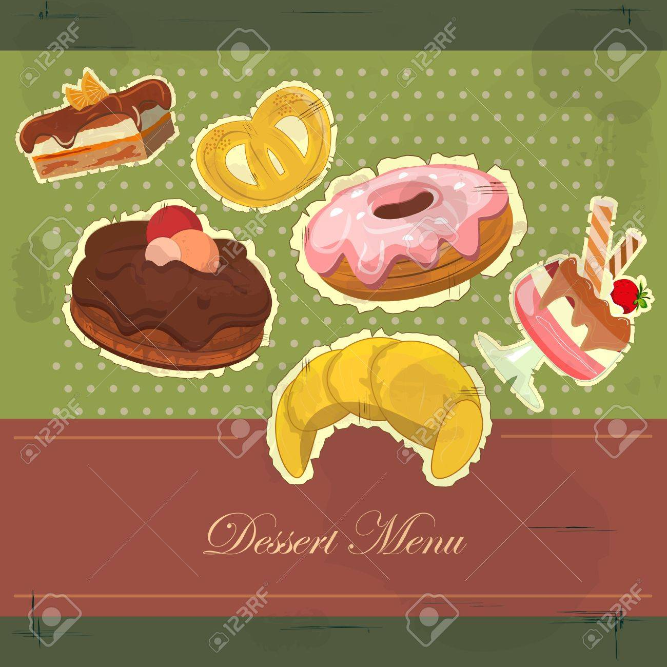 Beautiful vintage card with a strawberry and chocolate dessert Stock Vector - 11075503