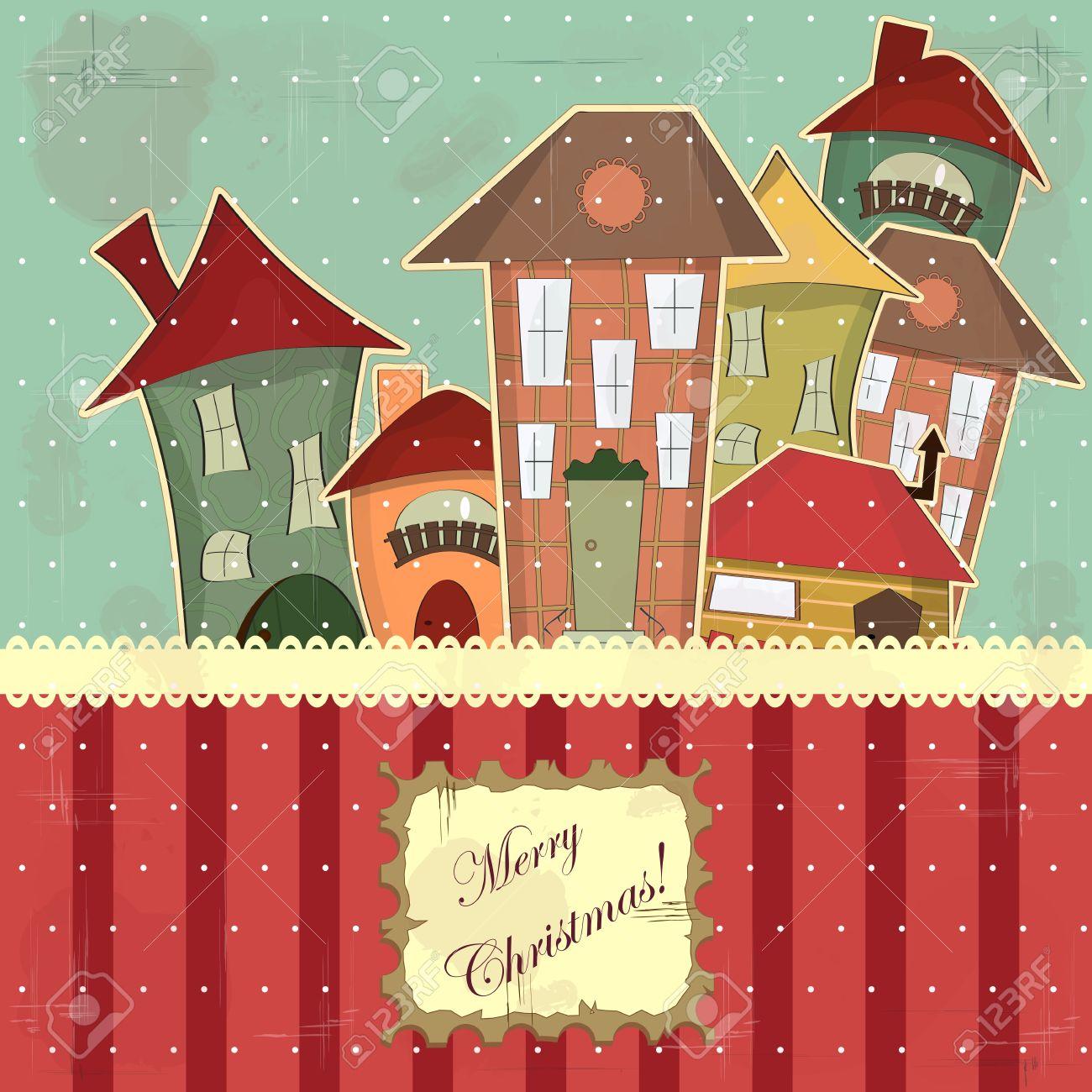 Immagini Cartoline Natale Vintage.Vettoriale Cartolina Di Natale In Stile Vintage Case Retro Nella Neve Image 11321517