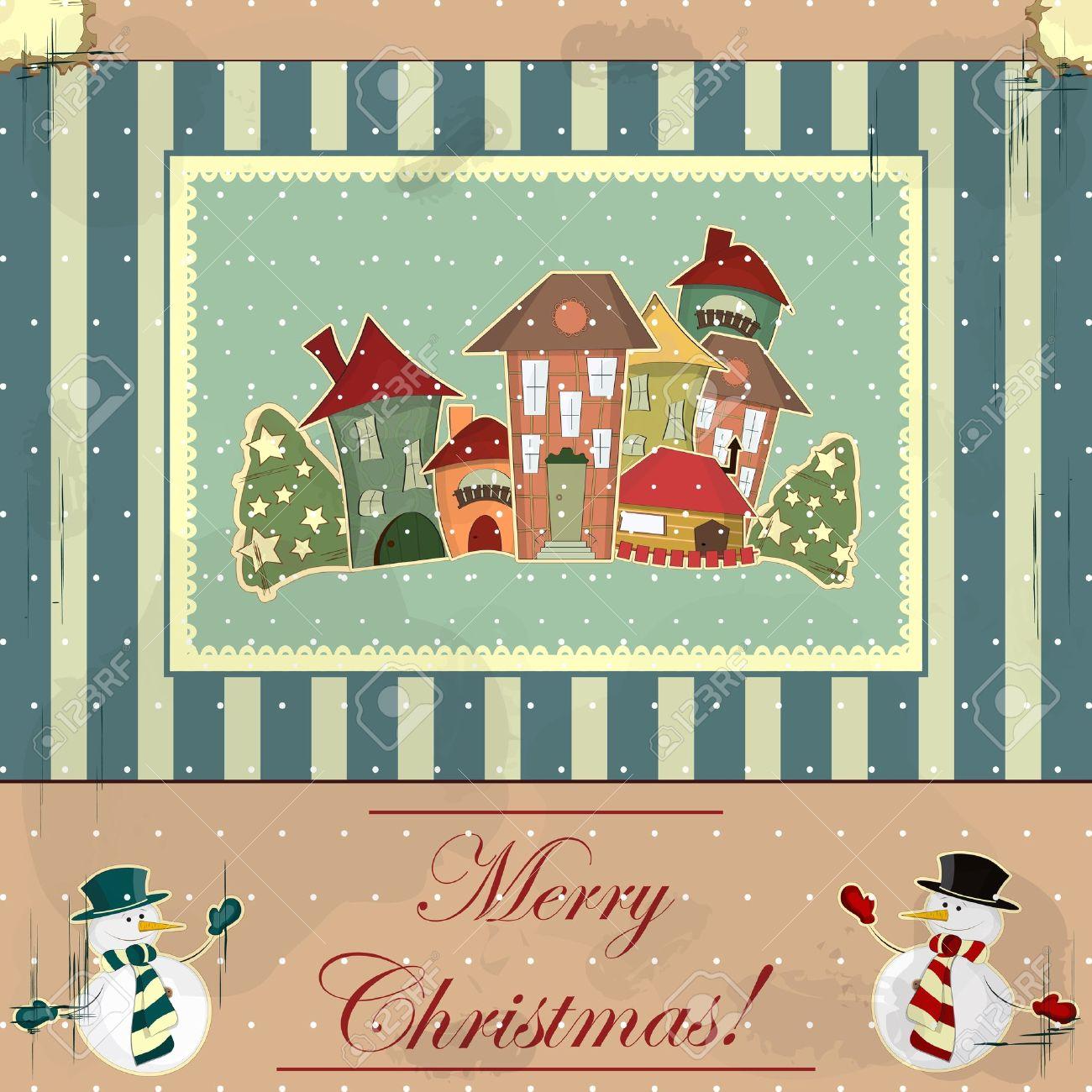 Immagini Vintage Natale.Vettoriale Cartolina Di Natale In Stile Vintage Case Retro Nella Neve Image 11321588