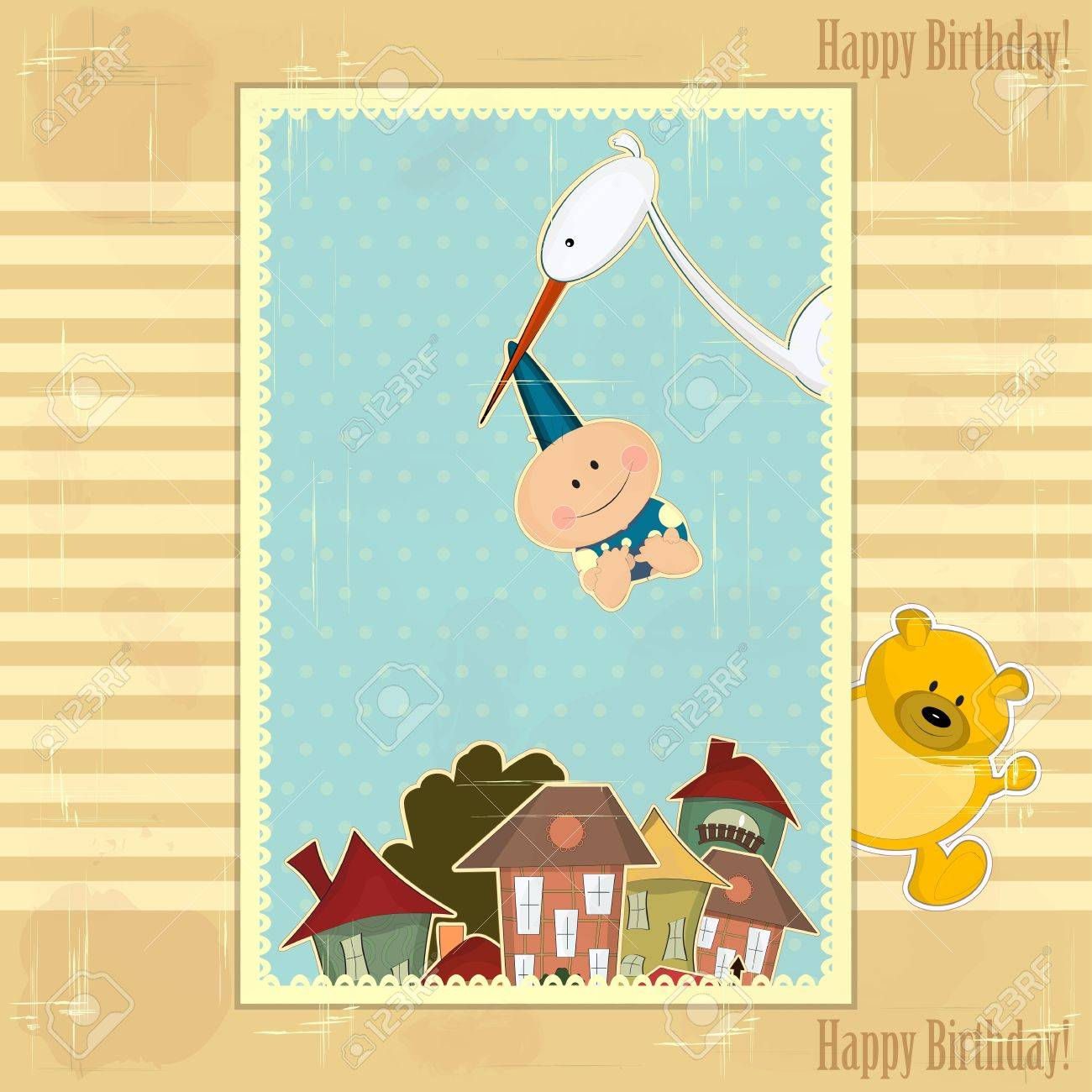 Greeting Card For Baby Boy With Stork Royalty Free Cliparts Vectors