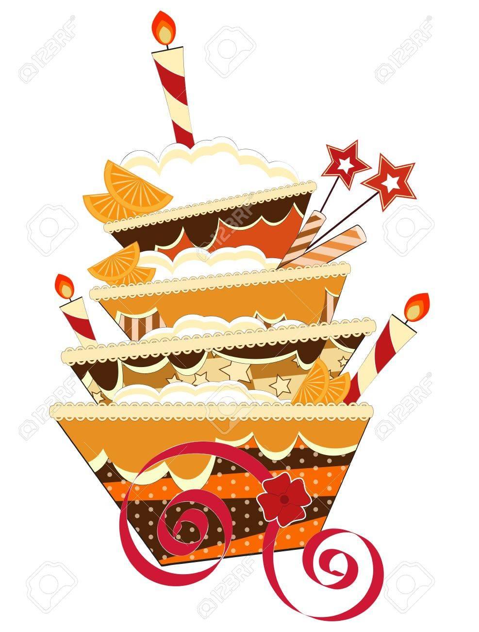 Groovy Big Chocolate Birthday Cake With Burning Candles Royalty Free Personalised Birthday Cards Veneteletsinfo