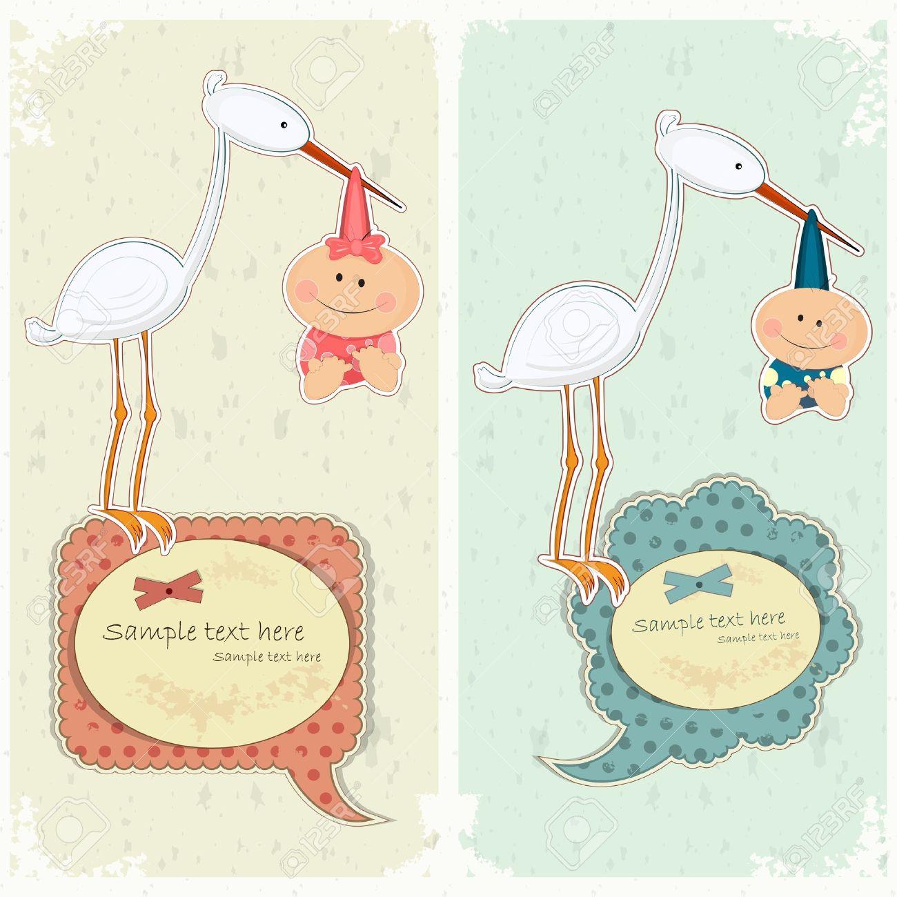 Baby postcard in vintage style - stork holding newborn - vector illustration Stock Vector - 12324679