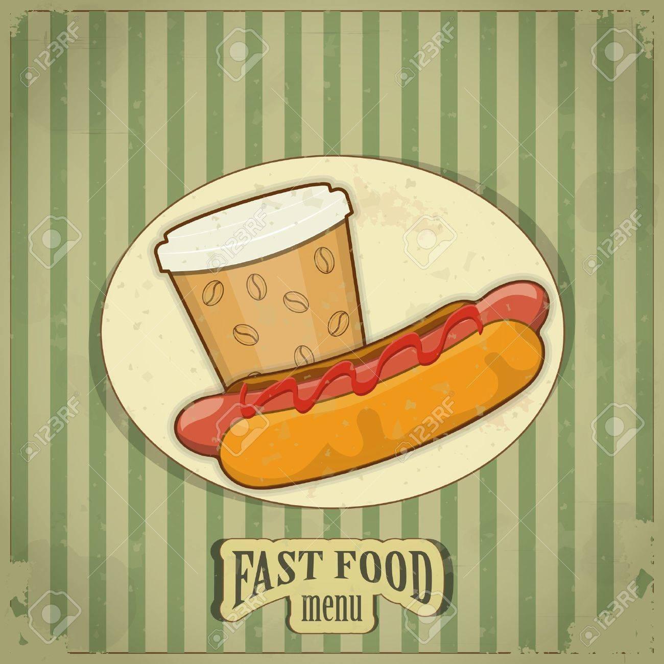 Vintage Fast Food Menu - the food on  grunge background - vector illustration Stock Vector - 12324692