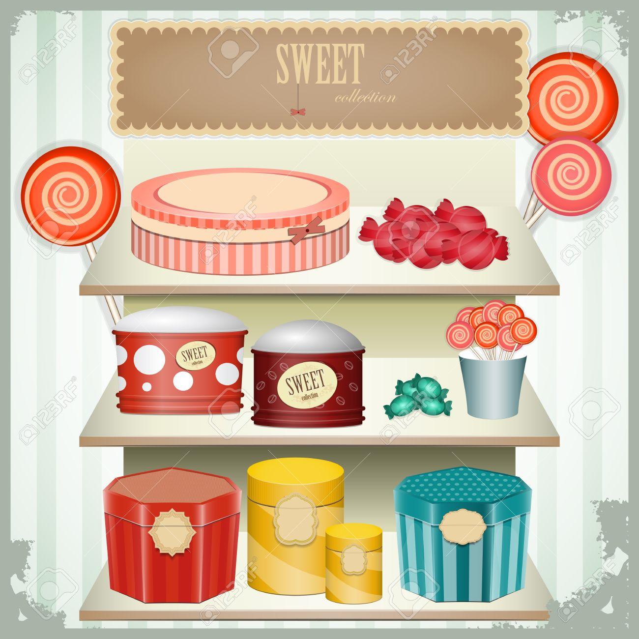 vintage postcard - shop sweets, confectionery - vector illustration Stock Vector - 12324706