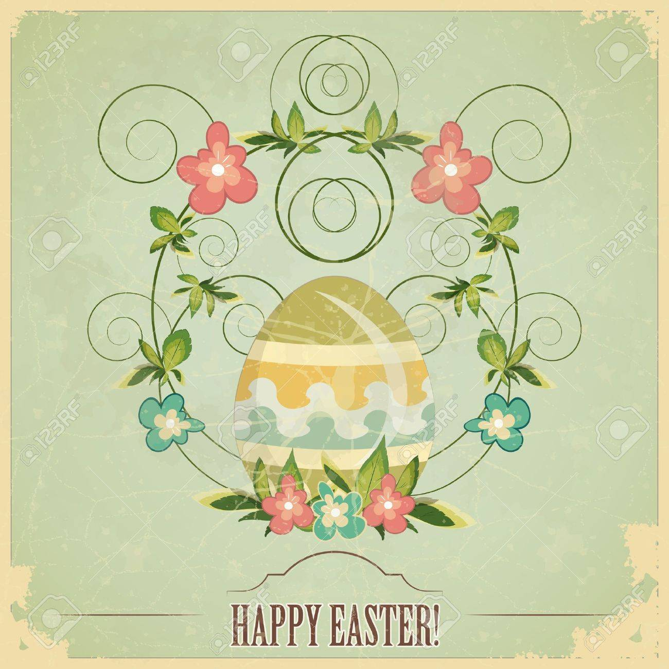 vintage Easter greeting card with colored eggs and flowers Stock Vector - 12801944