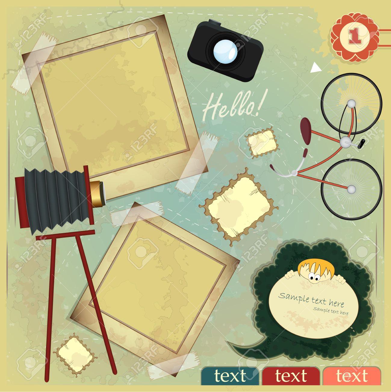 Vintage card - scrapbook elements on grunge background Stock Vector - 12801948