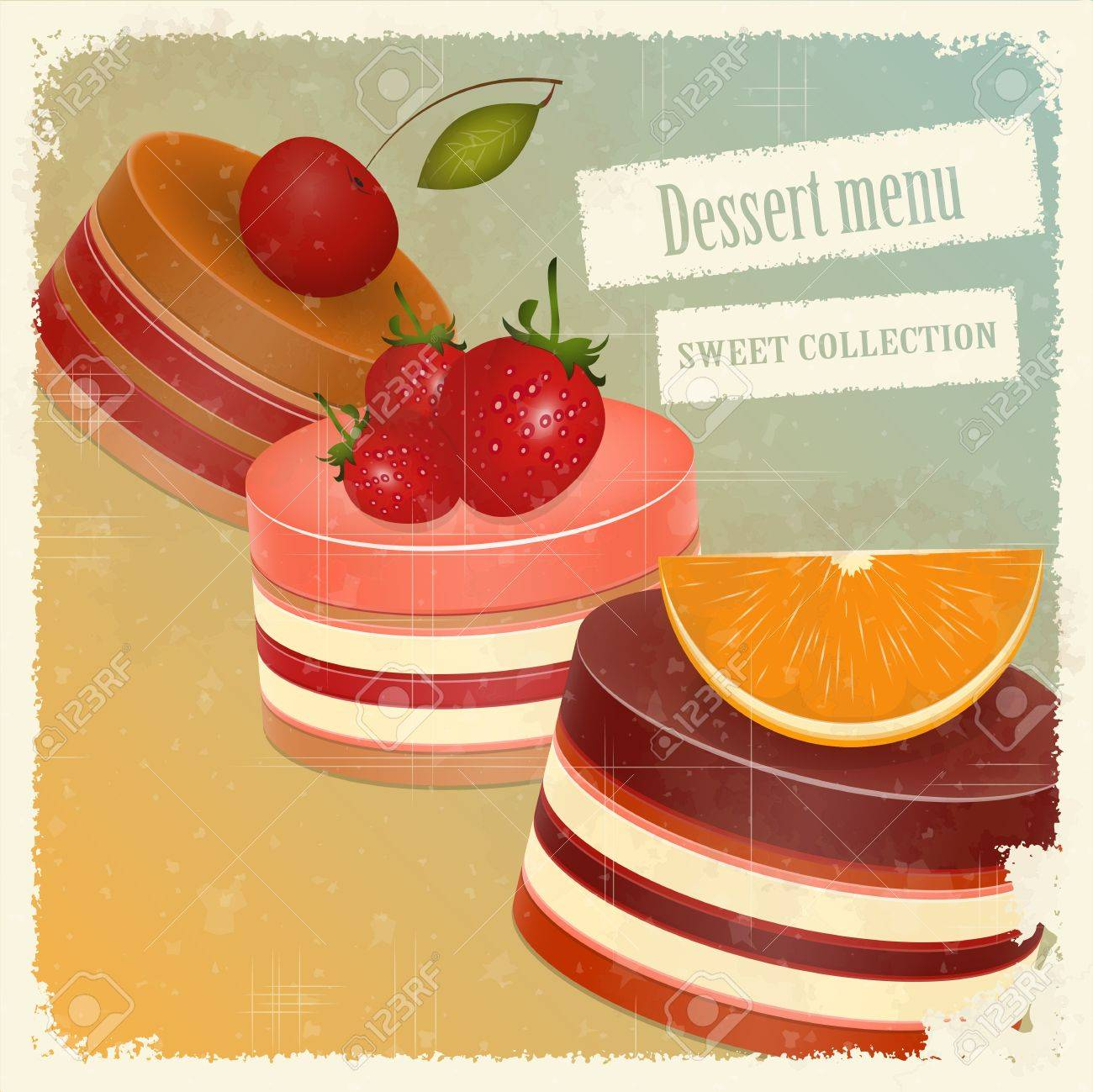 vintage postcard, cover menu - Strawberry, chocolate and cherry Cake Stock Vector - 12801951