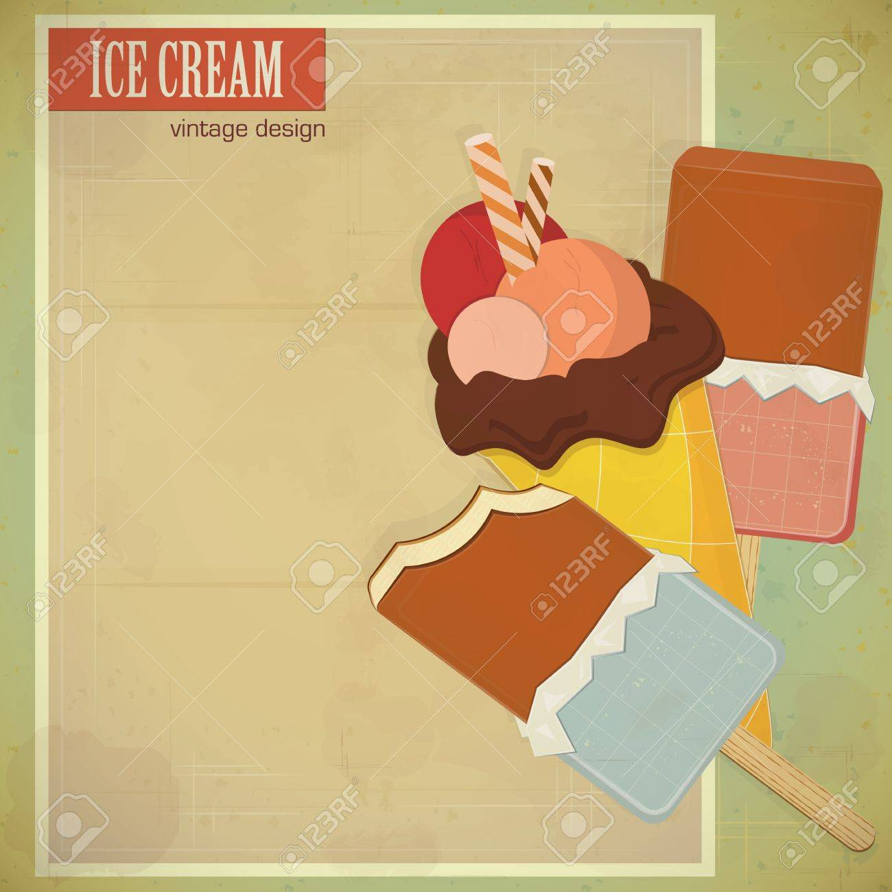 vintage card - ice cream on grunge background with place for text - vector illustration Stock Vector - 13231427