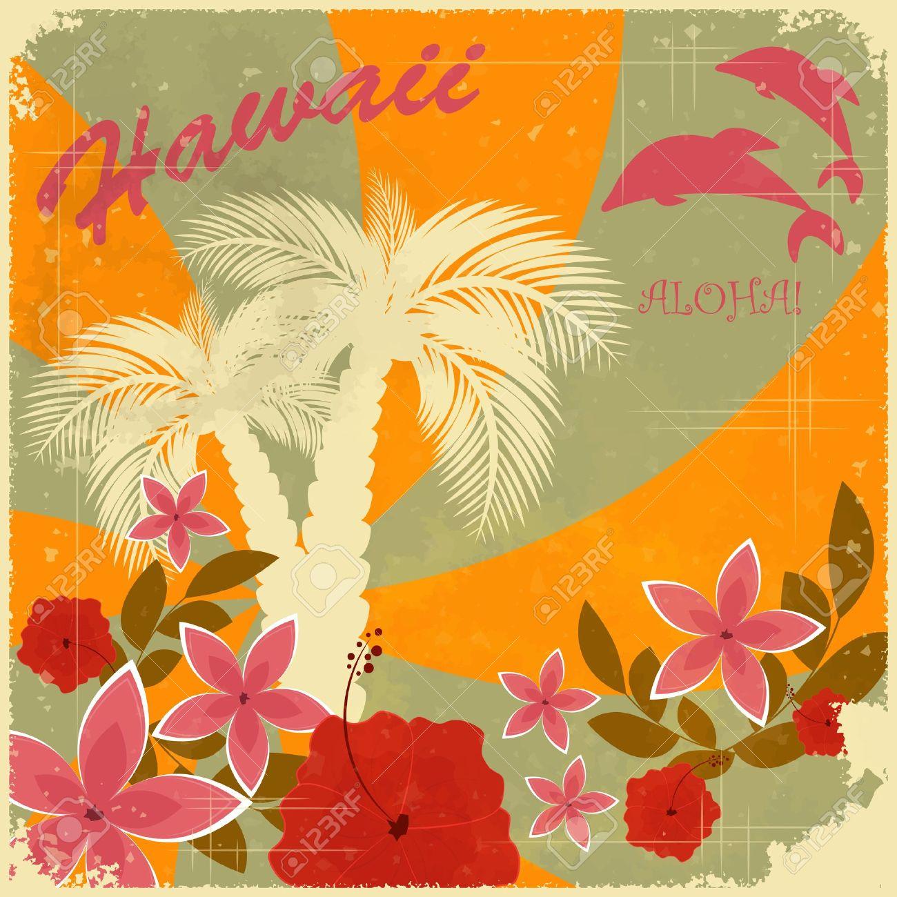 Vintage hawaiian postcard invitation to beach party royalty free vector vintage hawaiian postcard invitation to beach party stopboris Gallery