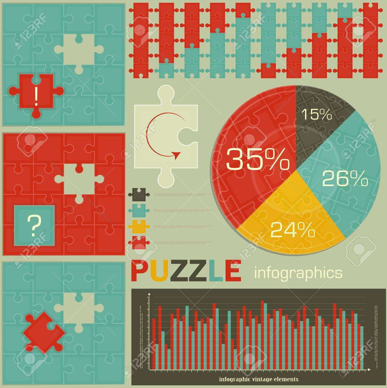 elements of Puzzle for Infographics - charts and graphs for presentations Stock Vector - 13459528