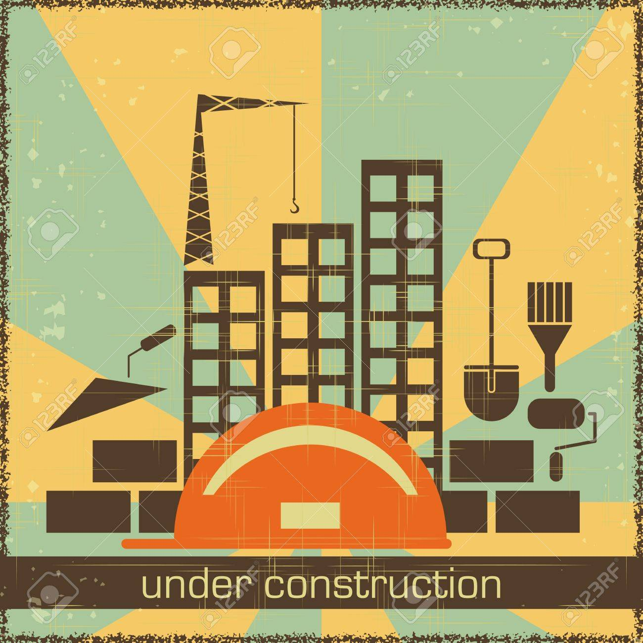 Retro Poster of Under Construction - building icons on grunge background - vector illustration Stock Vector - 13572465