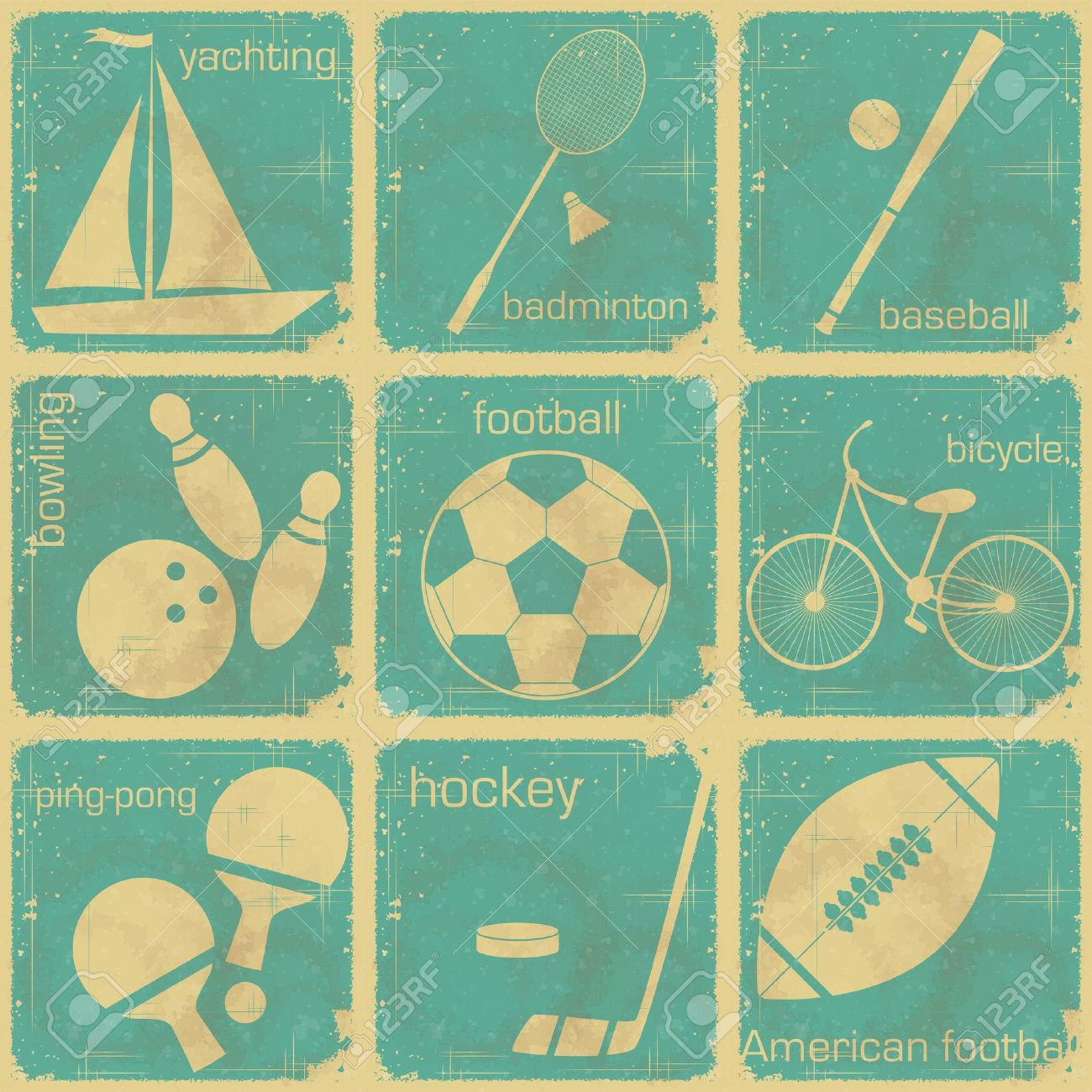 Vintage table hockey - Table Hockey Set Of Vintage Sport Separate Labels Retro Signs With Grunge Effect