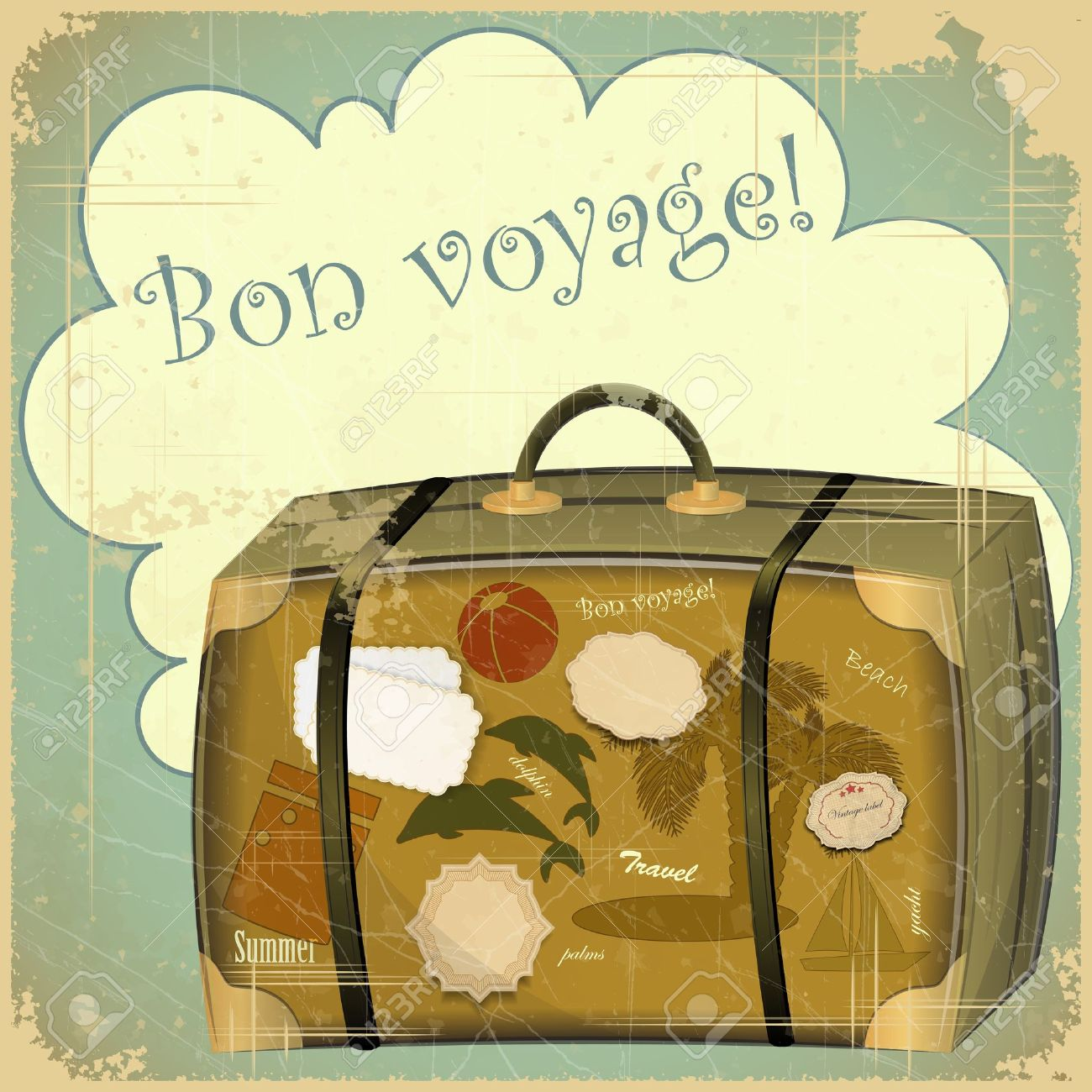 Retro Summer Postcard - Travel Suitcase Royalty Free Cliparts ...