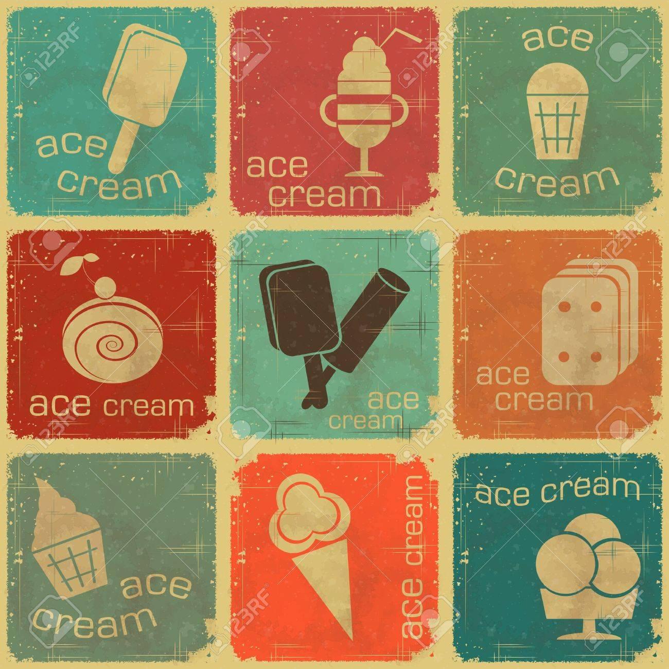 Ice Cream Label Template. hand drawn label textured ice cream stock ...