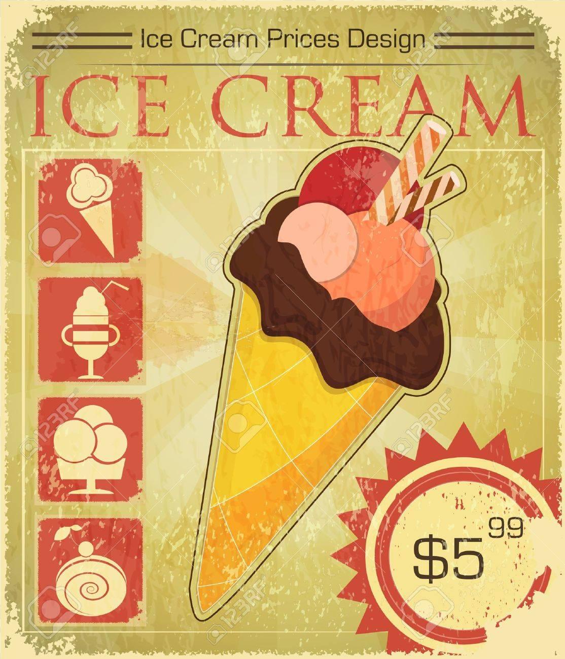 Design poster ice cream - Design Ice Cream Price In Retro Style Vector Illustration Stock Vector 14442105