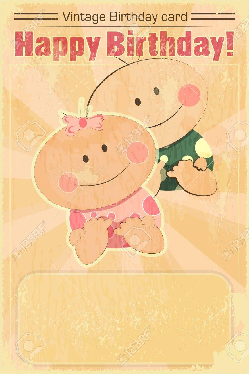 Carte D Anniversaire De Cru Design Bebe Bebes Jumeaux Sur Fond